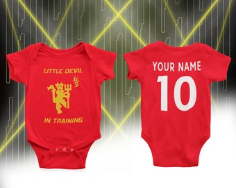 Baby Boy Bodysuit Vest Babygrow Manchester United Biggest Fan Football MUFC Gift