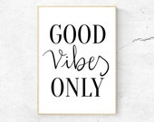 Good Vibes Only Typography Print | Digital Wall Art