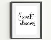 Sweet Dreams Printable Bedroom Art   Nursery Typography Bedtime Print