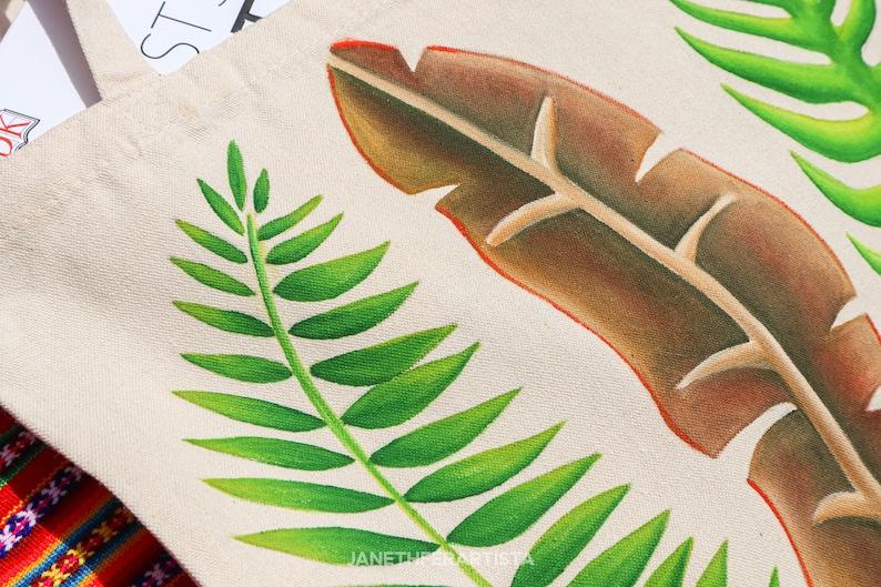 Tropical leaves tote bag tropical tote bag banana leaf tote bag reusable tote bag cute tote bag hand painted tote bag personalized bag