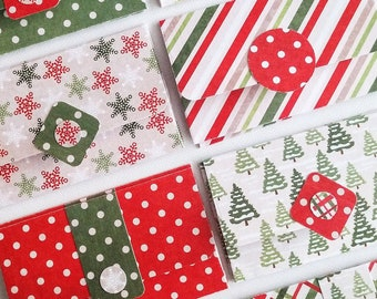 GIFT CARD HOLDER   8-Pack Christmas Mini Envelopes, Small Envelopes, Gift Card Envelope, Cash Envelope, Snowmen, Christmas Trees, Holidays