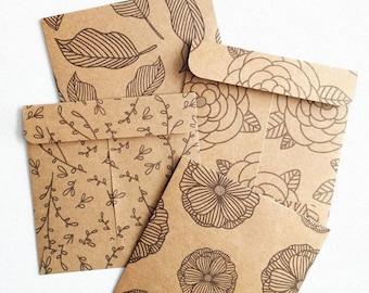 "SQUARE KRAFT ENVELOPES   5-Pack 4.25""x4.25"" Kraft Envelopes, Floral Envelopes, Botanical Illustrations, Small Envelopes"