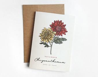 NOVEMBER Birth Month Flower Greeting Card   5x7 Birthday Card, October Birthday, Chrysanthemum