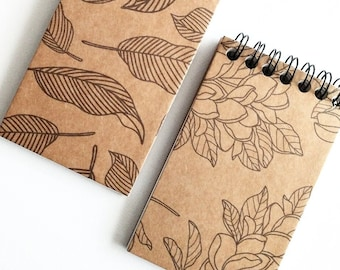 MINI NOTEPAD   2-Pack Kraft Hardcover Mini Notepads,  30 blank pages, Small notepad, Handmade