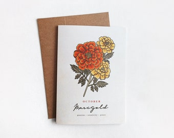 OCTOBER Birth Month Flower Greeting Card   5x7 Birthday Card, October Birthday, Marigold