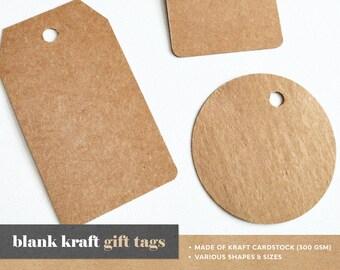 BLANK KRAFT Gift Tags   Pack of 25 tags, Kraft Gift Tags, Blank Gift Tags, Hang Tags, Kraft Cardstock