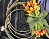 Spring Rope Wreath - Green Rope - & Carrot Swag