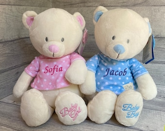 Bridesmaid new baby girl gift Cubby Teddy Bear Cubbies gift Personalised Bunny Rabbit