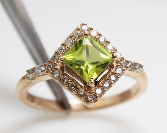 August Birthstone NEW Spiritual Stone Protection Stone 925 Sterling Silver Size 8.5 Ring Visionary Crystal Peridot Solitaire Ring