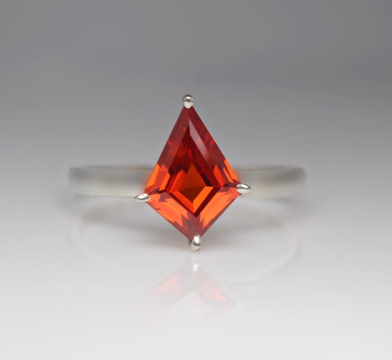 Handmade Solitaire Ring,925 Sterling Silver Ring Kite shape ring Orange Zircon Ring Handmade Ring,Dainty Ring,Beautiful Ring Zircon Ring