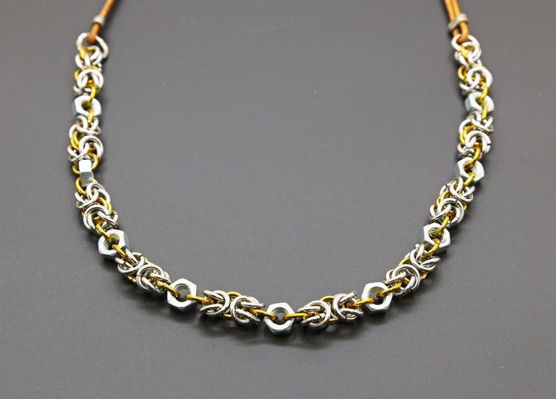Chain-maile necklace One of a kind necklace Silver-tone stainless steel necklace Gift for women Hex Nut necklace Chunky chain necklace