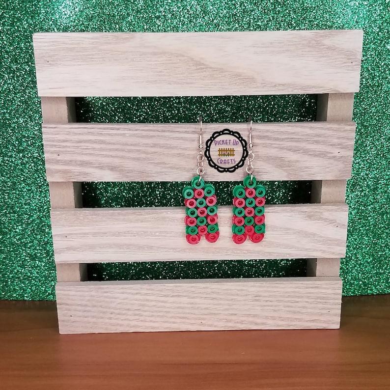 Geometric Chevron Red and Green Festive Holiday Dangle Earrings
