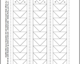 FPP - Print Your Own - Flying Geese - 8 sizes - Foundation Paper Piecing PDF