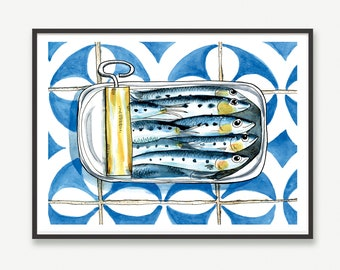 """Watercolor print sardines in a tin , 30x40cm, 12""""x16"""" inches"""