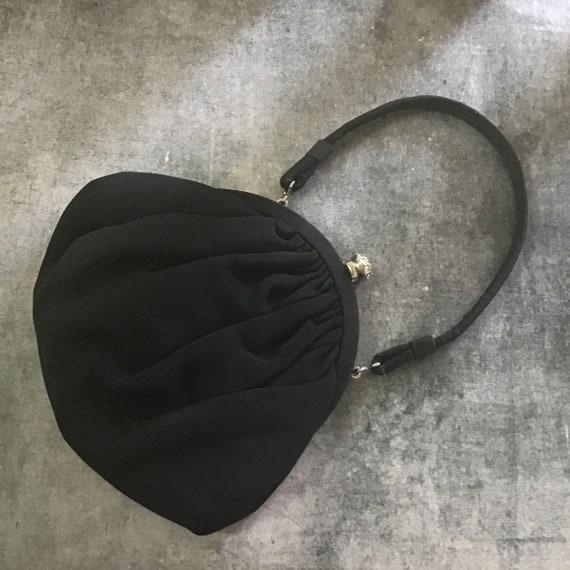 Beautiful Vintage 1940s / 1950s Black Grosgrain E… - image 1