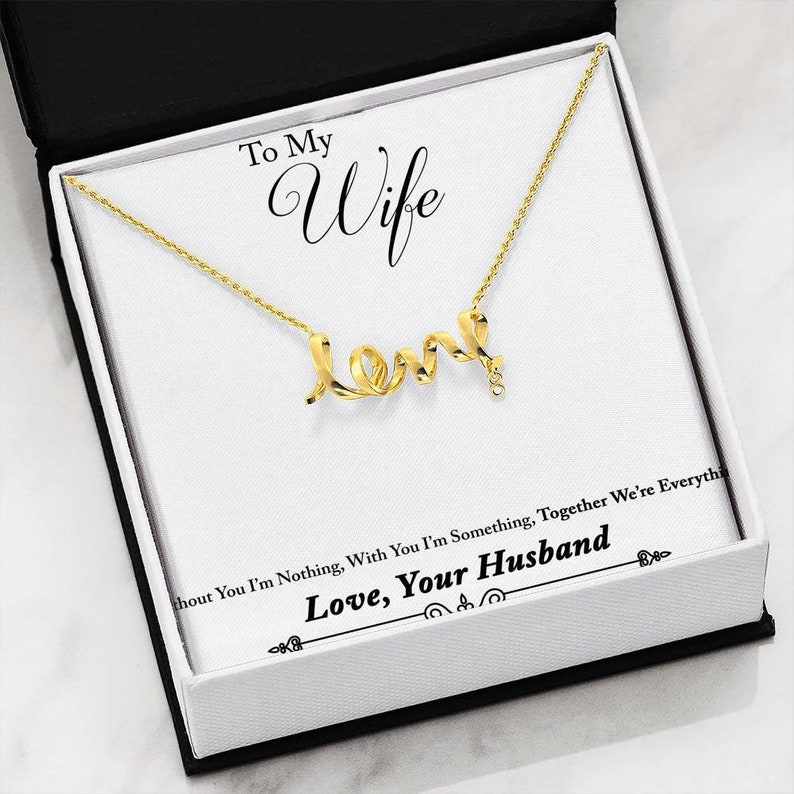 Valentine day gift for wife Scripted Love Necklace Valentine day Scripted Love Necklace Initial Together we are everything gift for wife