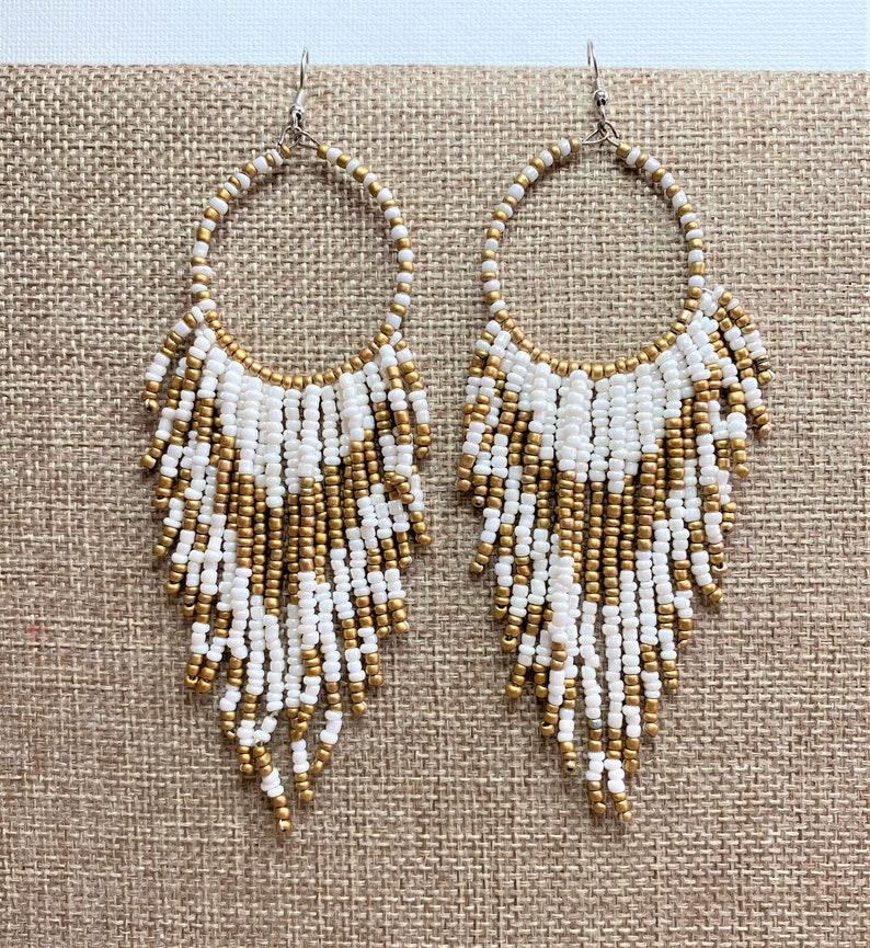 Pink Dream Catcher Fringe Earrings 4.75 Long Earrings Pink and Gold Beaded Earrings Africa Seed Bead Earrings Hippie Earrings