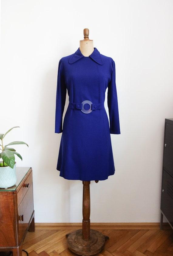 70s blue wool dress