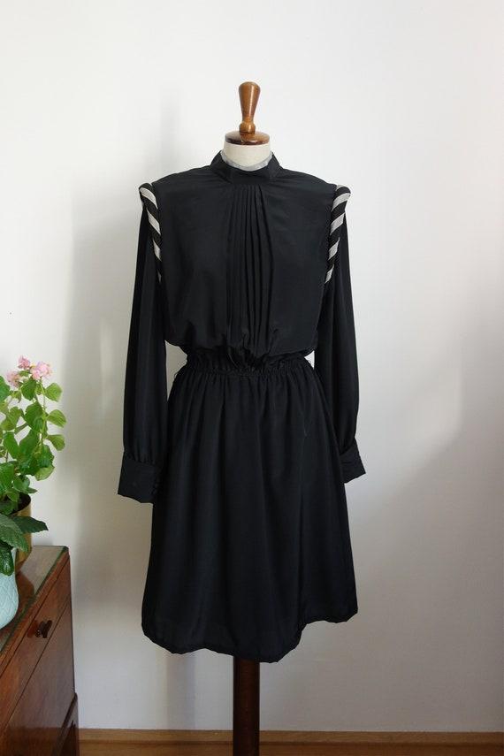 80s Dress, Black, Puff Sleeves, Mini, Knight, Renn