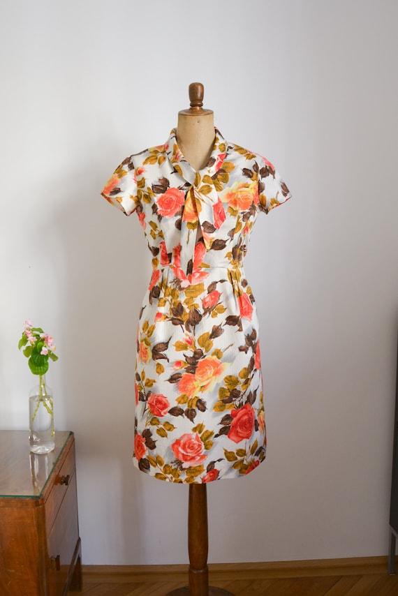 50s dress, white orange yellow floral, rockabilly,