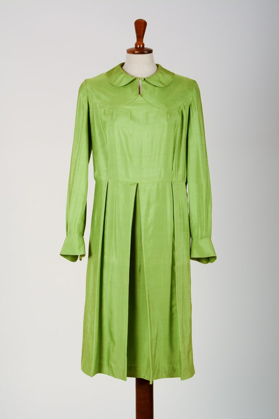 1920's Dress, Green Day Dress, Flapper, Silk, True