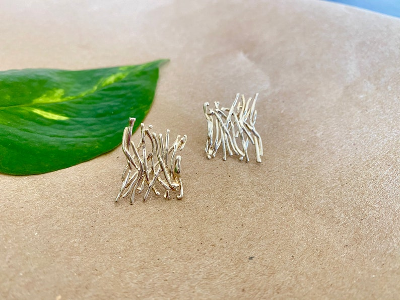 Branch Cluster Earrings .925 Sterling Silver Gifts for Her Statement Earrings Modern Jewelry Handmade Silver Earrings Ready To Ship