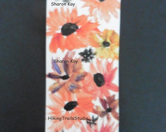 Mixed Daisies, Bookmark, hand painted original, floral shelf sitter, flower lover, book accessory, nature lover gift, book lover guft