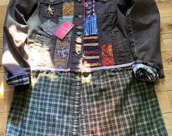 Gypsy Summer Loose Dress Upcycled Boho Tunic Fun Pinafore Med-Large    FREE SHIPPING     Fabricycle