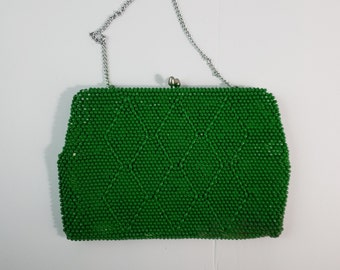 Vintage 1960's Green Emerald Beaded Change Coin Purse Made in Japan w/ Silver Tone Clasp & Chain Handle Mid Century Modern MOD