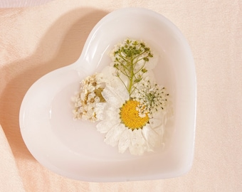 milky white • floral jewelry dish