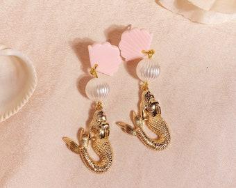 pink mermaid studs