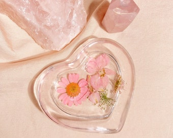 pink • floral jewelry dish