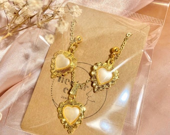 vintage pearl heart matching set - necklace & earrings set