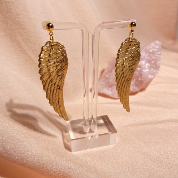 gold angel wing studs