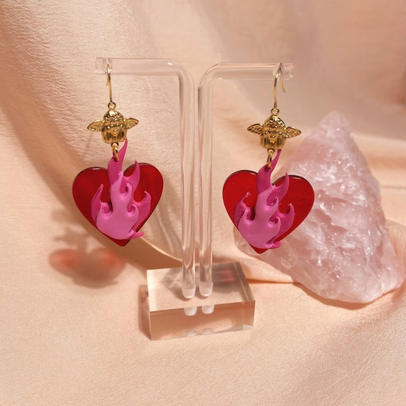 burning love dangles • red x pink