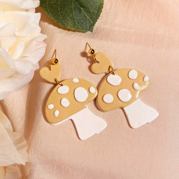peach mushroom studs • wonderland collection
