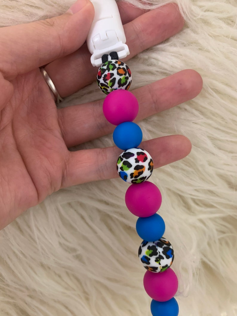 Pink and Leopard Pacifier Clips Lisa Frank Inspired Pacifier Clip Cute Pacifier Clips for Girl Cute Leopard Pacifier Clips for Baby Girls