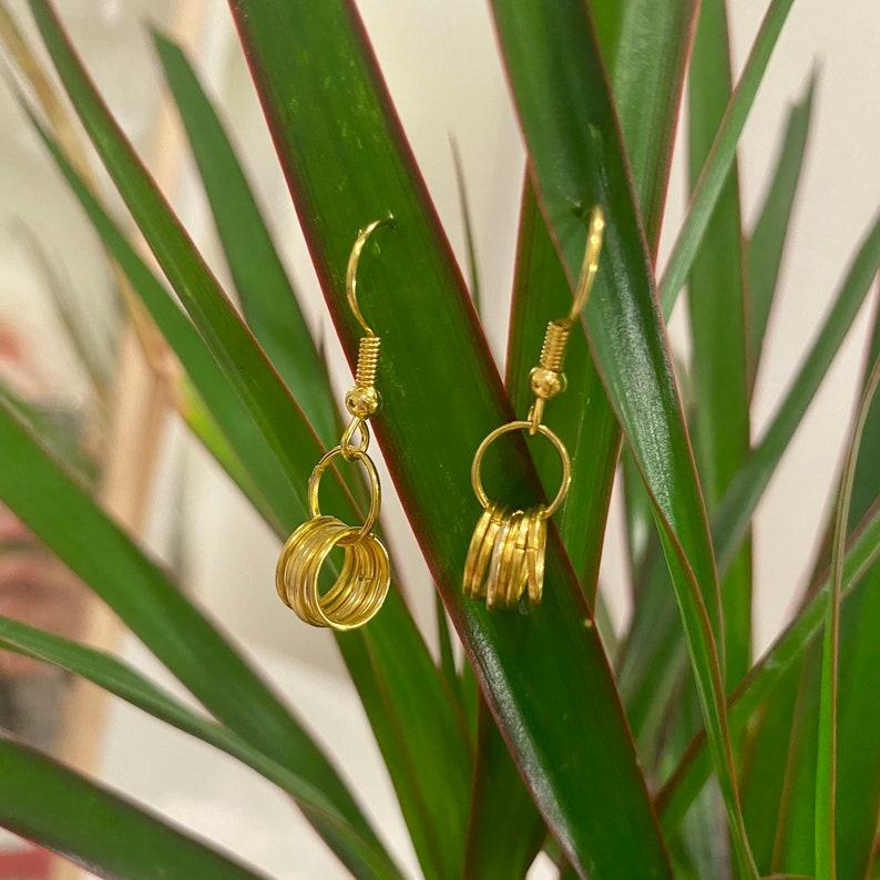 Drop Ring Gold Earrings