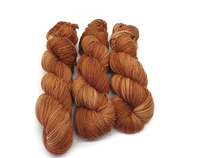 Plant Dyed GOTS Certified Organic Merino Wool, Orange Brown, 100g Strand, Rosy - Summer Evening