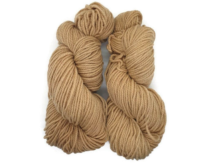 plant-dyed organic merino wool, thick, orange cream, 100g strand, Finkho orange caramel
