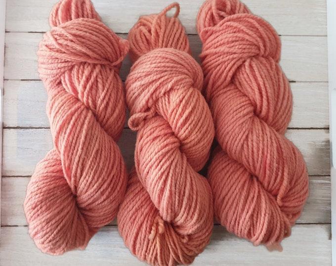 plant-dyed organic merino wool, thick, salmon orange, 100g strand, finkho salmon