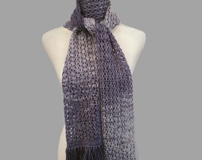 knitted hole pattern scarf with fringes, gradient grey-blue, 216 cm x 30 cm, handmade