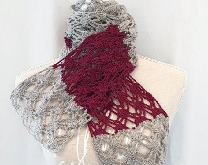 crochet scarf in berry/grey, 205 cm x 16 cm, made of GOTS Organic Merino by Rosy Greenwool