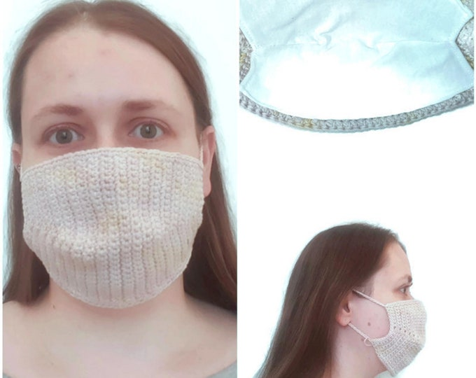 Mouthguard/ makeshift mask with bag for filters, ladies, crocheted from GOTS certified organic cotton in pastel pink