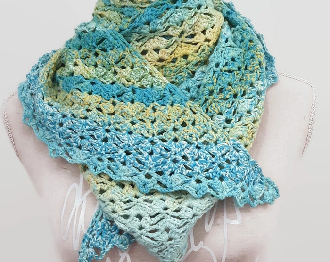 crocheted triangular cloth, summer scarf made of cotton, colorful, length approx. 1.62 m and width approx. 58 cm - At the Beach-