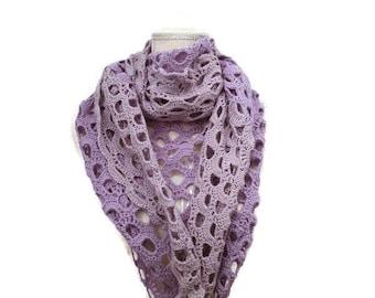 Crochet triangle cloth, lilac, GOTS organic cotton, handmade