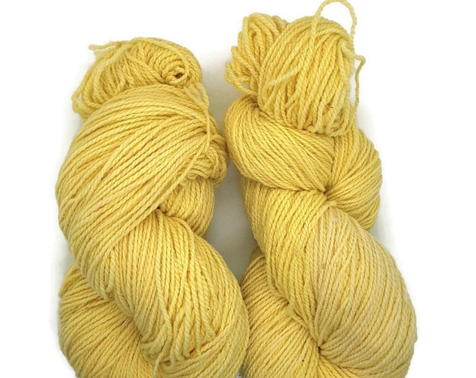 plant-dyed organic merino wool, light yellow, 100g strand, Finkho lemon