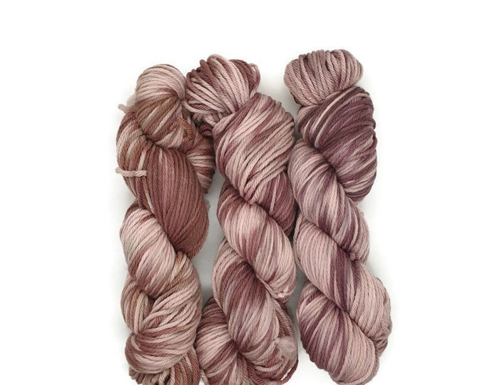 Plant Dyed GOTS- Certified Organic Merino Wool, 100g Strand, Pink to Red-Violet, Rosy-Wonder World-