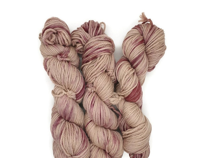 Plant Dyed GOTS- Certified Organic Merino Wool, 100g Strand, Beige, Pink, Red Violet, Rosy -Pink Clouds-