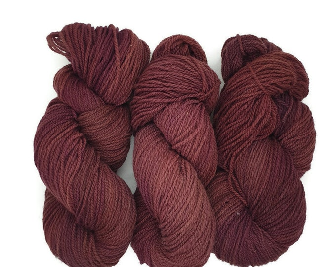 plant-dyed organic merino wool, thick, red to plum, 100g strand, Finkho -red plum-